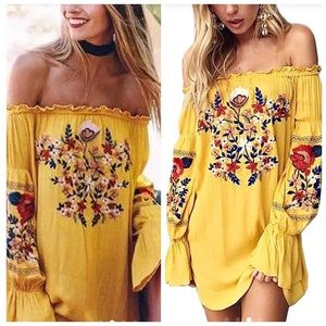 Boho Embroidered Floral Peasant Tunic Dress Top